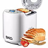 SKG Automatic Bread Machine 2LB - Beginner Friendly Programmable Bread Maker with 19 Programs, 3 Loaf Sizes, 3 Crust Colors, 15 Hours Delay Timer (White)