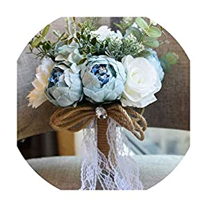 Wedding Bouquet Artificial Roses Peonies Silk Flowers Pink White Wedding Bridal Bouquets Accessories,Blue Bouquet 98