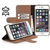 StilGut® Talis with Stand, Leather Wallet Case for Apple iPhone 6 Plus (5.5''), Cognac Vintage