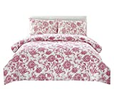 Couture Home Collection Floral Dream 3 pcs Comforter Set Burgundy Queen