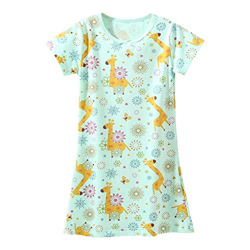 Cotton Nightgowns for Girls Floral griaffe Nightgown Green for 6-7 -