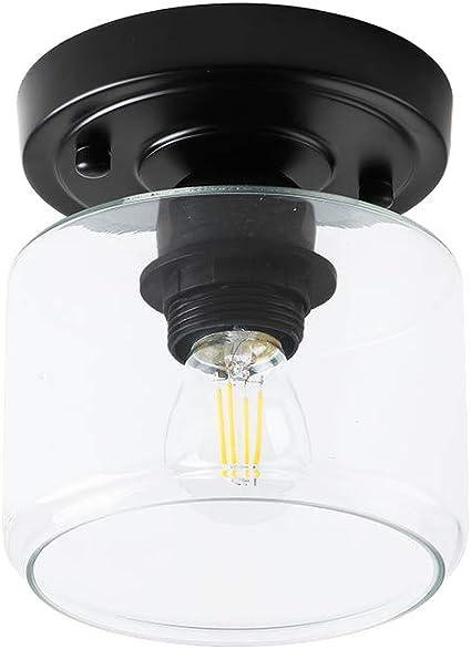 Create For Life 1 Light Semi Flush Mount Ceiling Light Rustic Ceiling Light Fixture For Closet Hallway Matte Black Finish Clear Glass Shade E26 Amazon Com