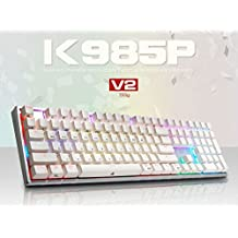ABKO K985P V2 55g Capacitance Non-Contact Switch LED (16.8M RGB Color) Keyboard Nkey-Rollover, Stabilizer, Waterproof, Cherry MX Profile, PBT KeyCap (108 Keys English/Korean Layout)