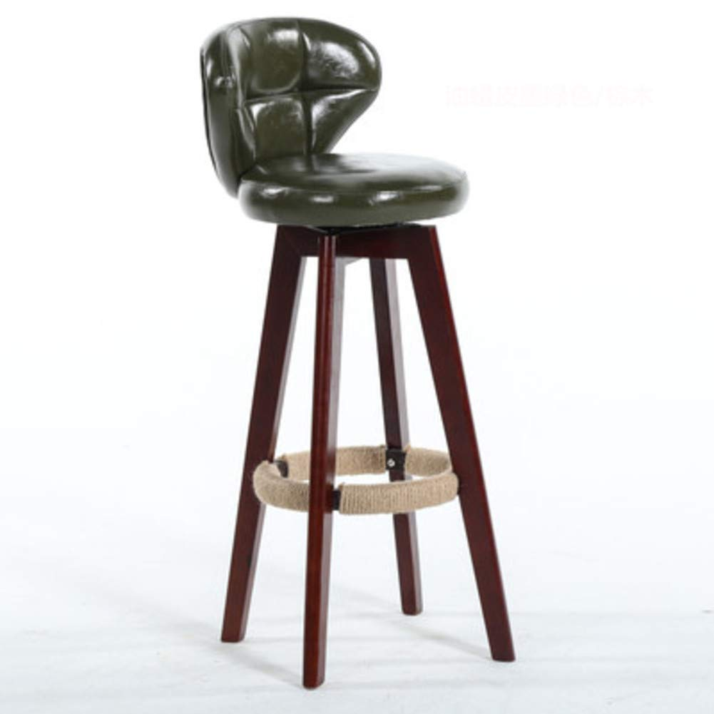 Dark greenA Modern Solid Wood Barstools, 360 Degree Swivel High Stool with Backs Pu Leather Filled Cotton Pub Chair Counter Bar Stool Chair for Office Bar Home-Black