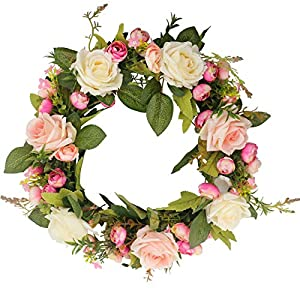 Ogrmar Artificial Flower Wreath/Handmade Floral Artificial Simulation Rose Flowers Garland Wreath for Home Front Door Christmas Wedding Party Decoration (Rose) 5
