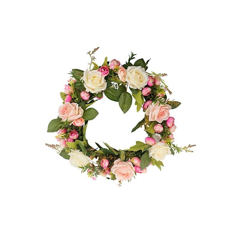 silk flower arrangements ogrmar artificial flower wreath/handmade floral artificial simulation rose flowers garland wreath for home front door christmas wedding party decoration (rose)
