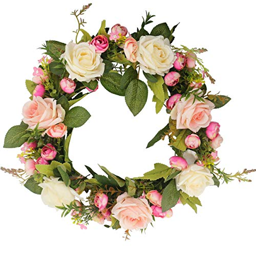 Ogrmar Christmas Artificial Flower Wreath/Handmade Floral Artificial Simulation Rose Flowers Garland Wreath for Home Front Door Christmas Wedding Party Decoration ()