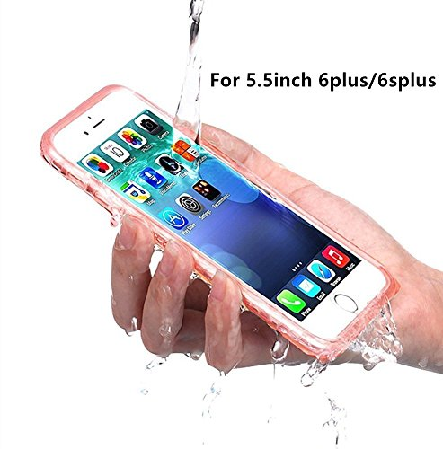 PISSION Waterproof Cases Full Protection Cover Transparent Bumper for 5.5inch iPhone 6Plus/6SPlus(Rose Gold)