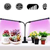 [2018 UPGRADED]Timing Function Auto Off Dual head Grow light 36LED 3 working modes 5 Dimmable Levels Full spectrum for Indoor Plants with 360 Degree Adjustable Plant light,Grow lights for indoor plants