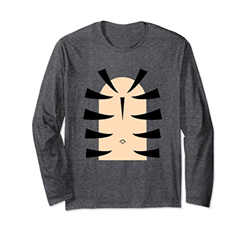 Unisex Long Sleeve Tiger Stripe Belly Last Minute Halloween T-Shirt Large Dark - Outfit Ideas Minute Last Halloween