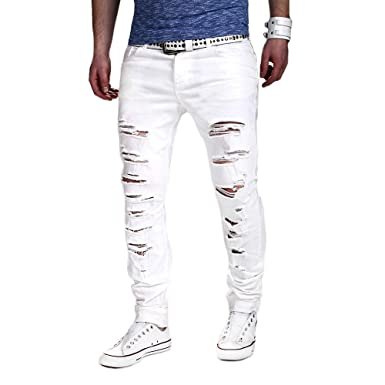 Pantalones Hombre Vaquero Elastico YiYLunneo Pantalones Rotos Largos Vaqueros Hombres Jeans Pants Bolsillos Slim Fit Skinny Jeans Pantalón Tapered