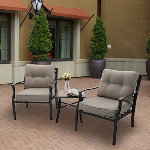 PHI VILLA Patio 3 PC Cushioned Conversation Set Side Table Padded Chairs Outdoor Sectional Furniture (Collocation 2)
