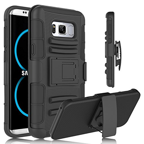 Galaxy S8 Plus Case, Galaxy S8 Edge Case, Venoro Heavy Duty Armor Holster Defender Full Body Protective Hybrid Case Cover with Kickstand and Belt Swivel Clip for Galaxy S8+ Plus