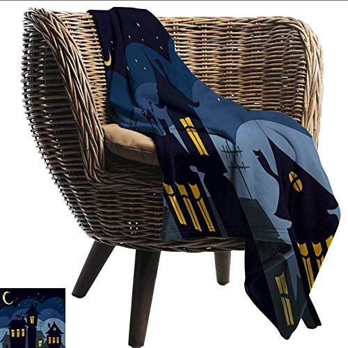smllmoonDecor Printing Blanket Halloween Old Town with Cat on The Roof Night Sky Moon and Stars Houses Cartoon Art Home, Couch, Outdoor, Travel Use W60 xL80 Sofa,Picnic,Camping,Beach,Everyday use