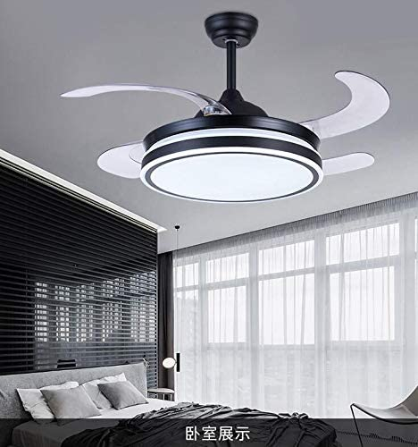 Sweety House 42 Ceiling Fan Chandelier With Retractable Invisible Fan blades and remote control variable wind speed and LED lighting 42 inches-black