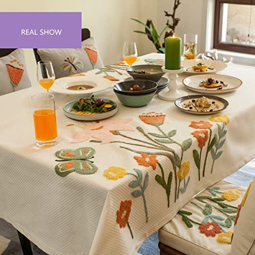 SFUDE Cotton Tablecloth Exquisite Handcraft Embroidery Table Cloth Tabletop Cover D??cor, 43-Inch-by-43-Inch