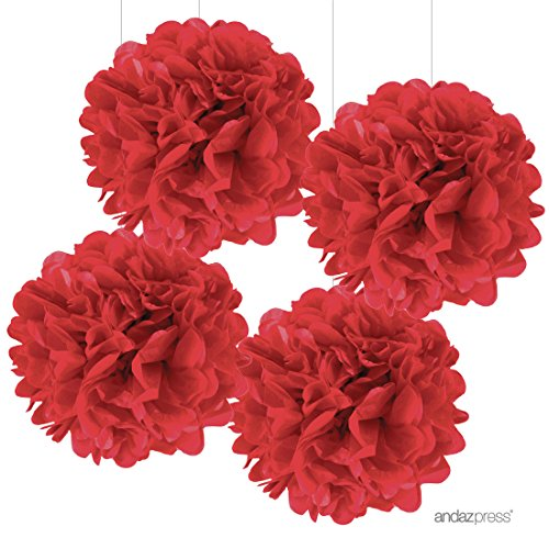 Andaz Press Large Tissue Paper Pom Poms Hanging Decorations, Red, 14-inch, 4-Pack, Christmas Valentine's Day Office Classroom Decorations Colored Birthday Party Supplies (Decoration Of Class Rooms)