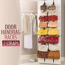 (2 Pack) Adjustable Over Door Straps Hanger Clothes Rack Organizer -4 Counts(32 Hooks)(Outer box damaged in shipment)