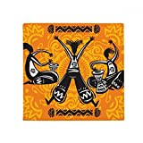 Dance Celebrate Mexico Totems Tambourine Anti-slip Floor Pet Mat Square Home Kitchen Door 80cm Gift