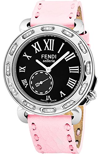 Fendi Selleria Womens Stainless Steel Diamond Watch with Selleria Horse Logo - Pink Leather Strap Black Face Analog Swiss Quartz Dress Watch For Women with Interchangeable Band - Pink Fendi