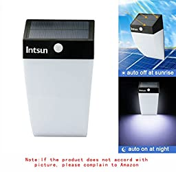 Intsun Bright LED Light Wireless Solar Powered Security Motion Sensor Light Detector Activated Day or Night Auto On / Off for Patio, Deck, Yard, Garden, Home, Driveway, Stairs, Outside Wall (36 LED)