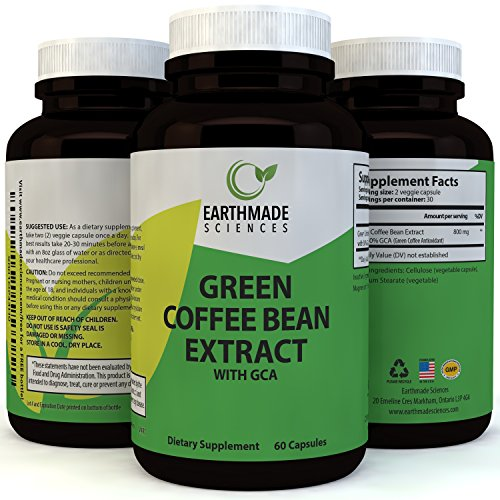 Green Coffee Bean Extract Weight Loss Supplement – Natural Metabolism Boost Increase Energy Suppress Appetite for Men & Women -Fat Burning Capsules with Pure Chlorogenic Acid by Earthmade Sciences For Sale