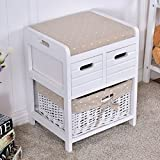 CASART Bedside Table Wooden Bench Drawer Nightstand Storage W/Rattan Basket White