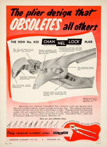 1953 Ad Champion DeArment No 420 Channel Lock Pliers Tool Hardware Construction - Original Print Ad from PeriodPaper LLC-Collectible Original Print Archive