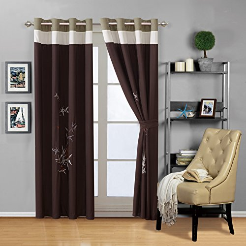 - Masterplay 4 - Piece Sage Green/Beige/Brown Tropical BAMBOO Embroidered Grommet Luxury curtain set Drapes/Window Panels 108