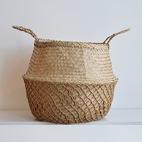 DUFMOD Large Natural Net Seagrass Woven Tote Belly Multipurpose Basket Storage, Laundry, Picnic, Plant Pot Cover Beach Bag (Natural Net Brown, Large)