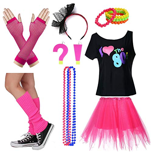 I Love The 80's T-Shirt Fancy Outfit Dress for 1980s Theme Party Supplies (M/L, Hot Pink) ()