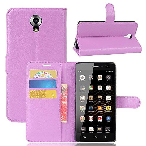 Lusee® PU Caso de cuero sintético Funda para Homtom HT7 / HT7 Pro 5.5 Pulgada Cubierta con funda de silicona violeta violeta