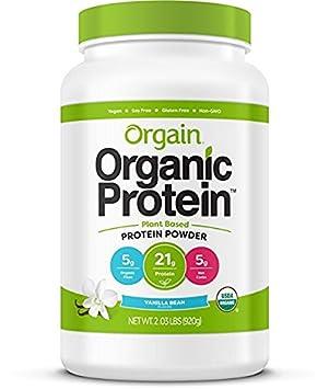 Orgain Organic Plant Based Protein Powder, Vanilla Bean – Vegan, Low Net Carbs, Non Dairy, Gluten Free, Lactose Free, No Sugar Added, Soy Free, Kosher, Non-GMO, 2.03 Pound