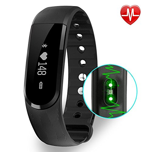 BIGFOX Activity Tracker Heart Rate Monitor ID101 HR Fitness Tracker Watch Bluetooth 4.0, IP67 Waterproof Pedometer Wristband With Calorie Counter/Step Counter/Camera remote/Music control (Black)
