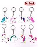 Sakolla(Set of 24)8 Style Rainbow Unicorn Party Favor Keychain Pack Goody Bag Toys Decoration Birthday Party Favor Supplies