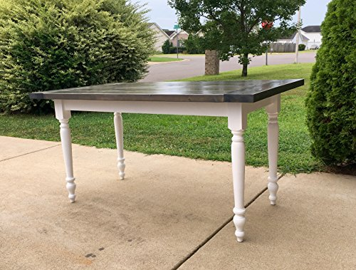 Country Farmhouse Dining Table with Classic Gray Stained Top - Rustic Kitchen Table