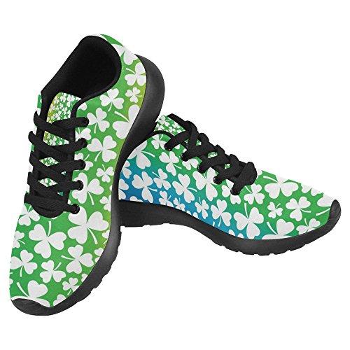InterestPrint Womens Jogging Running Sneaker Lightweight Go Easy Walking Casual Comfort Sports Running Shoes White Shamrocks On Rainbow Prism Multi 1 ehssk4