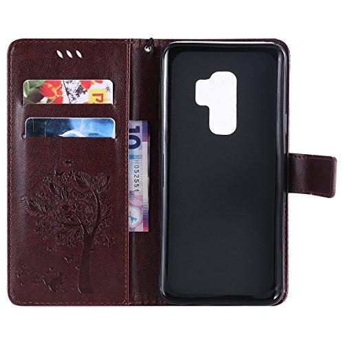 Funda Samsung S9 Plus, SsHhUu Funda PU Piel Genuino [Ranuras para Tarjetas] [Cierre Magnetico] con Lápiz óptico + Acollador para Samsung Galaxy S9 Plus / S9+ (6.2) Azul Marrón