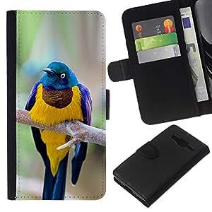 KingStore / Leather Etui en cuir / Samsung Galaxy Core Prime / Direction générale des plumes Golden Bird