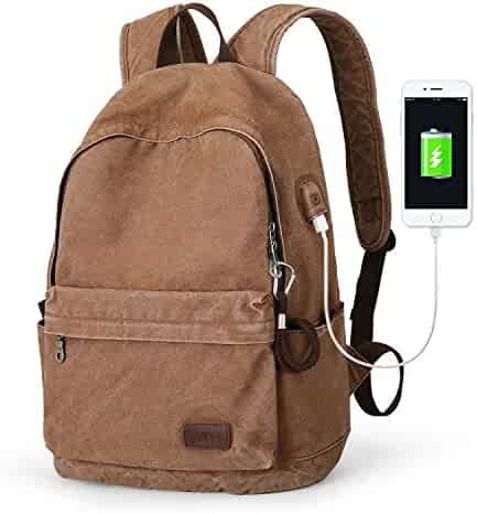 931fccf06a Muzee Canvas Backpack with USB Charging Port for Men Women, Lightweight  Anti-Theft Travel