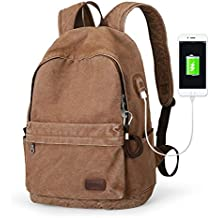 Muzee Canvas Backpack with USB Charging Port for Men Women, Lightweight Anti-Theft Travel Daypack College Student Rucksack Backpack Fits up to 15.6 inch Laptop Backpack Light Brown