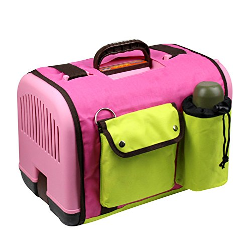 Happy Pet Dog Cat Rabbit Airline Approved Plastic Kennel Travel Carrier Car Travel Vet Visit Pet Carrier (Pink with cover)