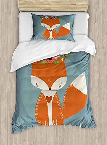 Ambesonne Hello Duvet Cover Set Twin Size, Greetings to The Coming of Summer Season Drawing of a Fox with Flourishing Flowers, Decorative 2 Piece Bedding Set with 1 Pillow Sham, Multicolor ()