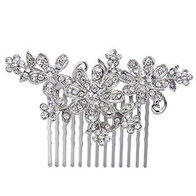 EVER FAITH® Bridal Silver-Tone Lots Flower Clear Austrian Crystal Hair Comb Headpiece