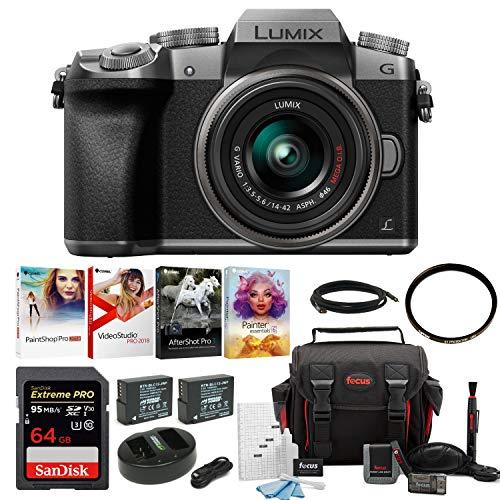 Panasonic LUMIX G7 Mirrorless Camera w/ 14-42mm f/3.5-5.6 Lens & 64GB SD Card Bundle - Secure Panasonic Card Memory Digital