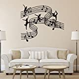 Toonol Music Dance Girl Vinyl Wall Decal Stickers Home Decor SchoolMusic Classroom DIY Art Mural Wallpaper,65 X 55CM