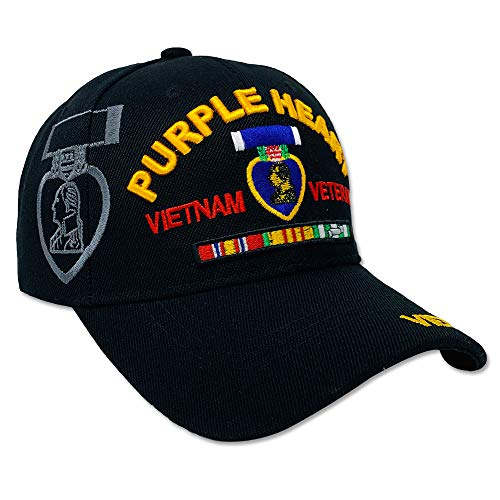 (DANKONG Official Licensed US Warriors 3D Embroidered Military Hat with Size Adjustable Hoop and Loop Closure for Men and Women Headwear - Purple Heart - Vietnam Veteran - Black)