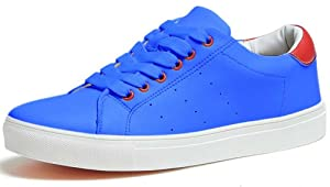 ZXD Solid Low Top Round Toe Shoes Lace up Fashion Sneakers Breathable Running Flat Slip on for Daily Unisex 9 B(M) US Women/7.5 D(M) US Men