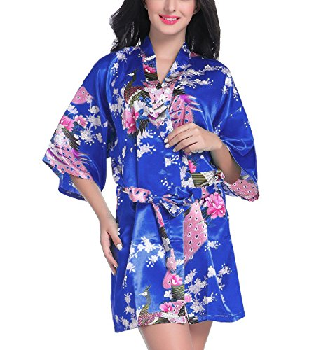 - Admireme Women's Bridesmaid Robes Short Peacock Blossoms Kimono Robe Dressing Gown Floral Robes (S, Royal Blue)