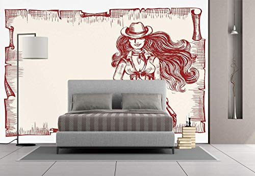 Funky Wall Mural Sticker [ Western,Sexy Young Cowgirl with Lasso Old Paper Style Background Hairstyle Vintage Frame,Ruby White ] Self-adhesive Vinyl Wallpaper / Removable Modern Decorating Wall Art]()